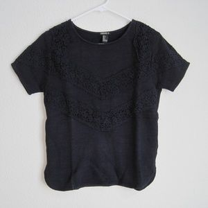 Forever 21 Navy Blue Lace Shirt - Size Small